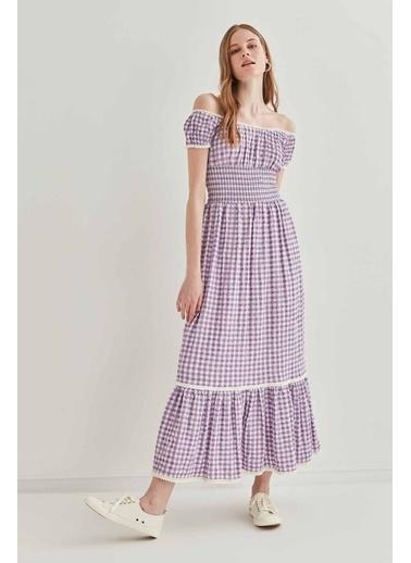 Vitrin VİTRİN Güpür Şerit Detaylı Uzun Country Elbise Lila